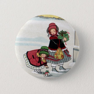 Kids Delivering Christmas Gifts Pinback Button