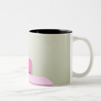 Kids desk and chair against the wall Two-Tone coffee mug