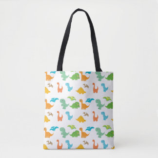 Kids Dino Dinosaur Decor Colorful T-Rex Lizard Tote Bag