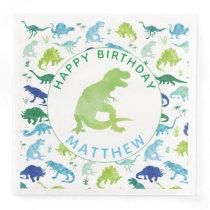 Kids Dinosaur Birthday Party Pattern Green Dino Paper Dinner Napkin