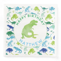 Kids Dinosaur Birthday Party Pattern Green Dino Paper Dinner Napkins
