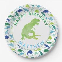 Kids Dinosaur Birthday Party Pattern Green Dino Paper Plate