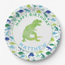 Kids Dinosaur Birthday Party Pattern Green Dino Paper Plate