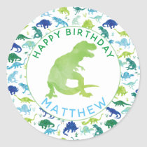 Kids Dinosaur Birthday Party Personalized Dino Classic Round Sticker