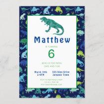 Kids Dinosaur Birthday Party Watercolor Invitation