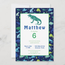 Kids Dinosaur Birthday Party Watercolor Invitation