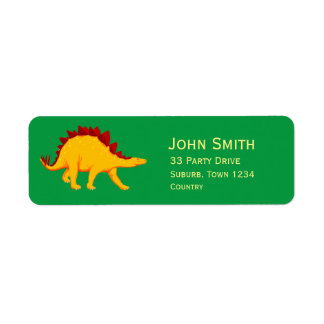 Kids dinosaur party Stegosaurus Label