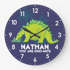 Kids Dinosaur Stegosaurus Blue Green Name Clock at Zazzle