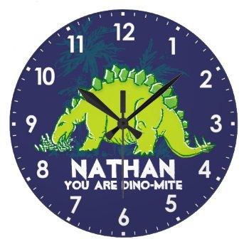 Kids Dinosaur Stegosaurus Blue Green Name Clock by Mylittleeden at Zazzle