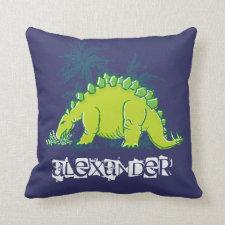 Kids Dinosaur Stegosaurus blue green pillow