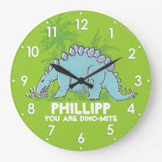 Kids Dinosaur Stegosaurus Green Blue Name Clock at Zazzle