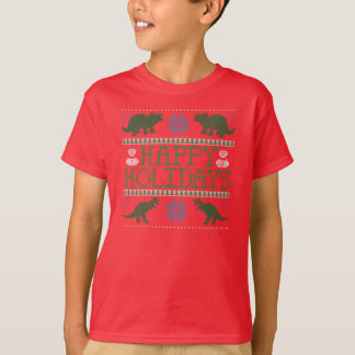 Kids' Dinosaur Ugly Christmas Sweater T-Shirt