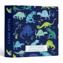 Kids Dinosaur Watercolor School Personalized Blue 3 Ring Binder