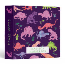 Kids Dinosaur Watercolor School Personalized Girls 3 Ring Binder