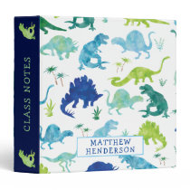 Kids Dinosaur Watercolor School Personalized Green 3 Ring Binder
