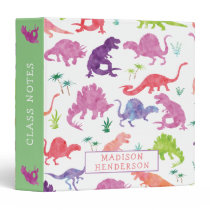 Kids Dinosaur Watercolor School Personalized Pink 3 Ring Binder