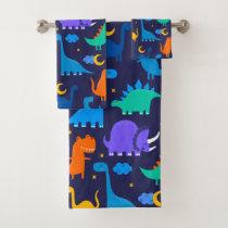 Kids Dinosaurs At Night Blue Orange Green Pattern Bath Towel Set