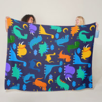Kids Dinosaurs At Night Blue Orange Green Pattern Fleece Blanket