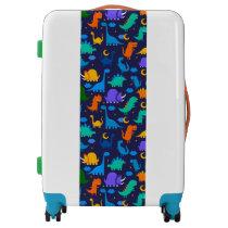 Kids Dinosaurs At Night Blue Orange Green Pattern Luggage