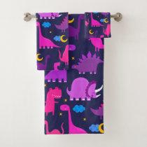 Kids Dinosaurs At Night Girls Pink Purple Cute Bath Towel Set