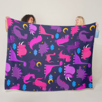 Kids Dinosaurs At Night Girls Pink Purple Cute Fleece Blanket