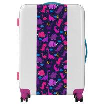 Kids Dinosaurs At Night Girls Pink Purple Cute Luggage