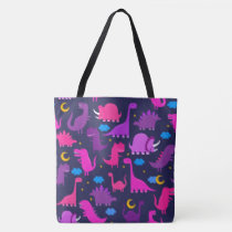 Kids Dinosaurs At Night Girls Pink Purple Cute Tote Bag