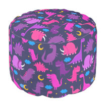 Kids Dinosaurs At Night Pink Purple Girls Pattern Pouf