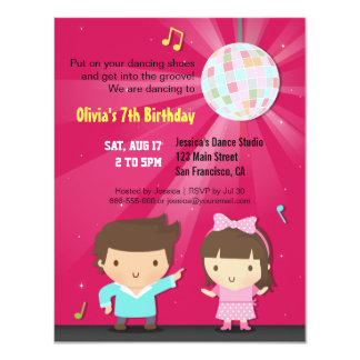 Kids Disco Ball Groove Dance Birthday Party 4.25x5.5 Paper Invitation Card