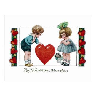 Kids, Dog and Big Heart Vintage Valentine Postcard