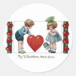 Kids, Dog and Big Heart Vintage Valentine Round Stickers