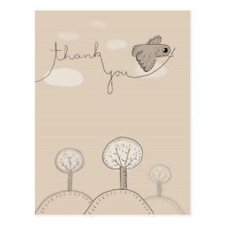 Kids Doodle Bird Trees Hills Thank You Postcard