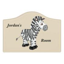 Kid's Door Sign Cute Baby Zebra