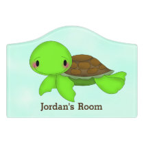 Kid's Door Sign Cute Turtle