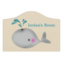 Kid's Door Sign Cute Whale