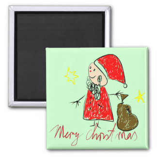 Kids Drawing of Santa Magnet for Gifts