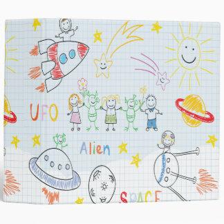 Kids drawing,space,aliens,universe,cute,kid,kawai, binder