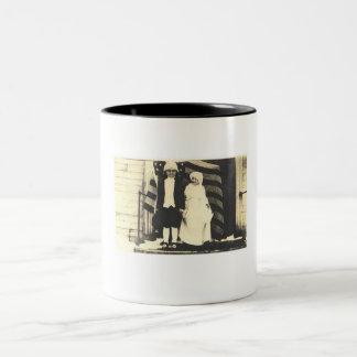 Kids dressed as George and Martha Washington Two-Tone Coffee Mug