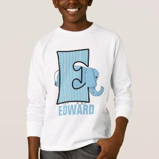 "Kids ""E"" Monogram | Blue Elephant | Striped T-Shirt"