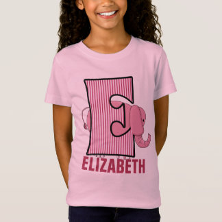 "Kids ""E"" Monogram | Pink Elephant | Striped T-Shirt"