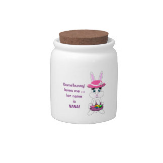 Kids Easter Bunny With Pink Floppy Hat and Basket Candy Dish