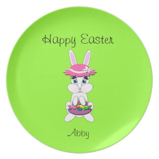 Kids Easter Bunny With Pink Floppy Hat and Basket Dinner Plate