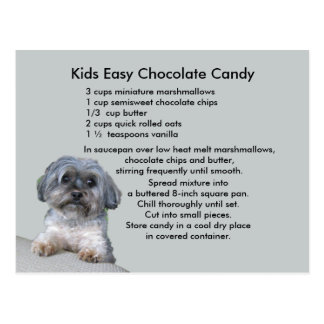 Kids Easy Chocolate Candy Recipe Postcard