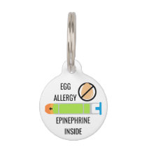 Kids Egg Allergy Epinephrine Inside Emergency Pet Name Tag