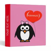 Kids elementary school binder with cute penguin