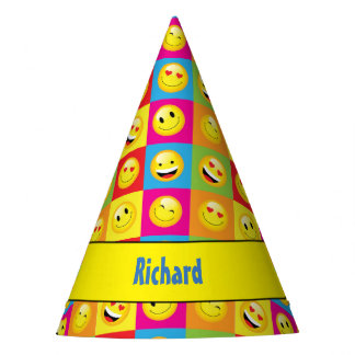 Kids Emoji Birthday Party Happy Smilies Faces Party Hat