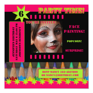 Kids Face Painting Birthday Party Invitation
