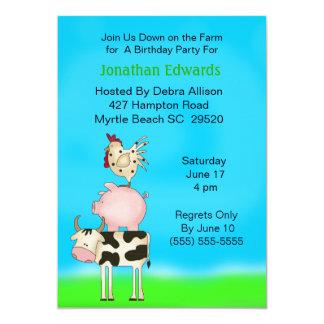 Kids Farm Animal  Theme  Birthday Invitation
