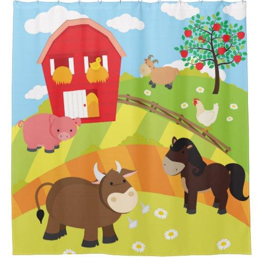 Kids Farm Animals Farmer Theme Shower Curtain