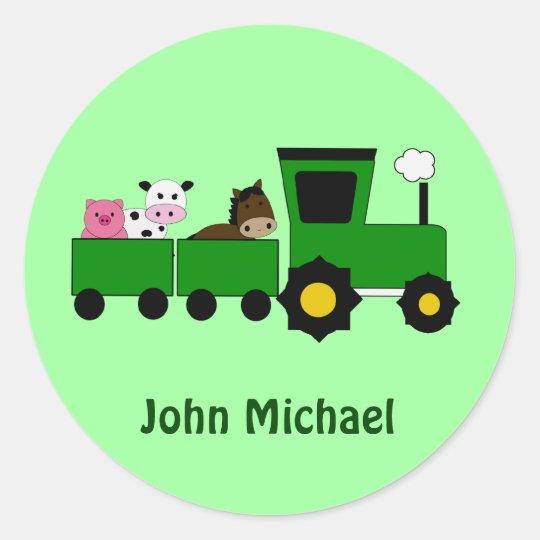 Kids Farm Tractor  Birthday  Stickers